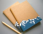 Small Mountain Notebook Journal - Screen Printed Blank Sketchbook - Travel, Nature, or Bullet Journal