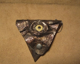 Grichels leather triangle coin purse - metallic bronze with honey brown coyote eye