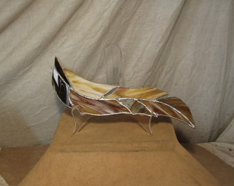 Handmade stained glass large hanging feather - assorted brown, butterscotch, and white shades of glass