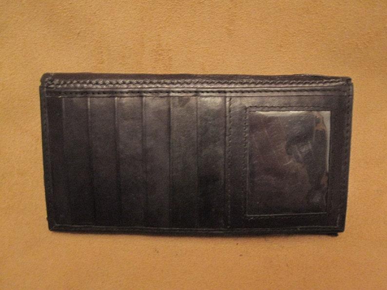 black with custom metallic pink slit pupil eyes Grichels leather checkbook cover Strolut 34639