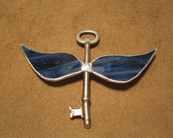 Handmade stained glass winged skeleton key - marbled blue glass on large skeleton key