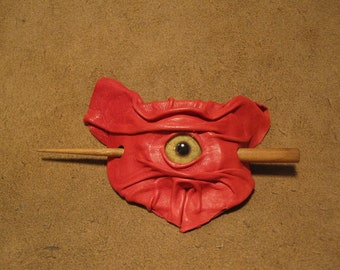 Grichels leather hair thing stick barrette - lipstick red with honey brown coyote eye