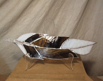 Handmade stained glass large hanging feather - assorted brown and white shades of glass