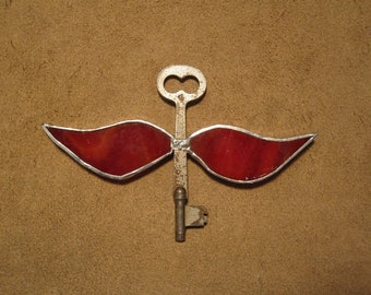 Handmade stained glass winged skeleton key - marbled red glass on large skeleton key