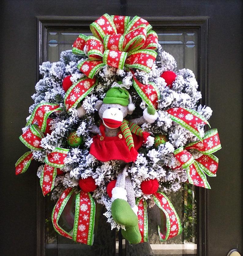 Flocked Wreath Prelit Wreath Lighted Christmas Wreath Sock Monkey Wreath Sock Monkey Christmas Wreath