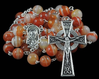 Catholic Rosary Beads Celtic Orange Striped Agate Natural Stone Silver Traditional Five Decade Gift