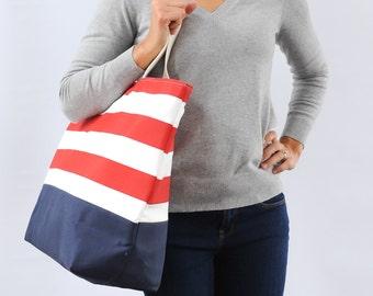 EXTRA Large Beach Bag // Nautical Red Stripes