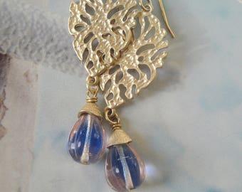 Gold Filigree Vintage Glass Bead Romantic Earrings  Gift For Her