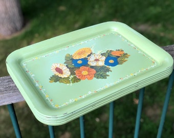 Set of  Vintage Metal Lunch Tray Retro Serving Light Green Flowers Floral