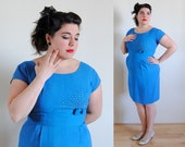 SALE Plus Size Vintage Dress 1960s Blue with Bow and Beads // Starburst Spring Fashion // Size 12/14 XL