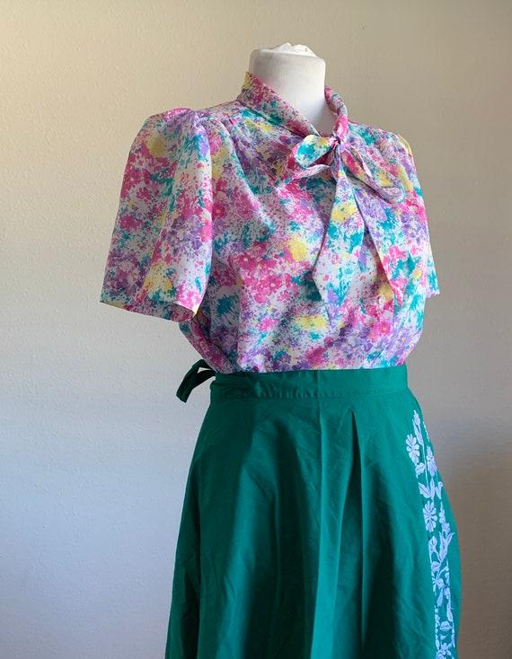 Plus Size Vintage Blouse // 1980's Color Explosion