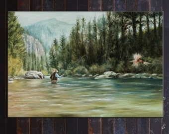 Fishing Painting Fly fishing art CANVAS Print
