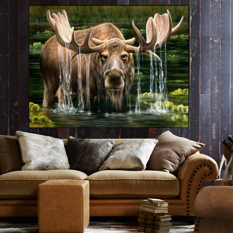 Elch Malerei Elch-Kunst Leinwand Wand-Dekor Tierwelt | Etsy