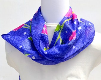 Hand Painted Silk Scarf, Floral Scarf, 63 x 11 inches, Made in Australia, Wearable Art, Gift for Her, SallyAnnesSilks  HP34