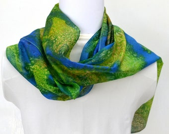 Hand Painted Silk Scarf ,The Reef ,  Scarf, 62 x 10.5 inches, Made in Australia, Ready to Ship, Gift for her, SallyAnnesSilks  S195