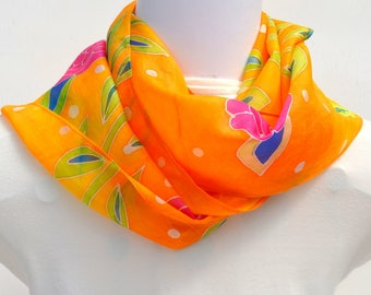 Hand Painted Silk Scarf, Floral Scarf, Tropical Fun Scarf, 64 x 10 inches, Made in Australia SallyAnnesSilks  HP24