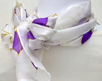 Silk Scarf, Short Silk Scarf, Gift for Her, Hand painted Silk, Neckerchief, Ready to ship, 42 x 10 inches, SallyAnnesSilks S185