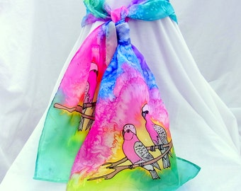 Hand Painted Silk Scarf, Galah Scarf , Australian Bird Scarf, 60 x 10 inches, Made in Australia SallyAnnesSilks  B3