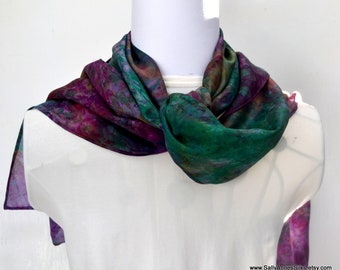 Silk Scarf, Scarf, Hand dyed, 64 x 10 inches, Ready to Ship, Gift for Her, Scarf for Women Made in Australia, SallyAnnesSilks S193
