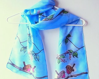Hand Painted Silk Scarf, Christmas Scarf, Bird Scarf, 60 x 11 inches, Made in Australia, Ready to Ship, Gift for her, SallyAnnesSilks  Ch1