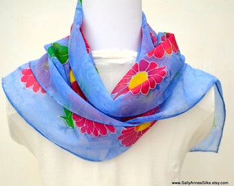 Silk Scarf, Chiffon Scarf, Wearable Art Scarf, 58 x 10.5 inches, Made in Australia, Ready to Ship, Gift for her, SallyAnnesSilks  HP37