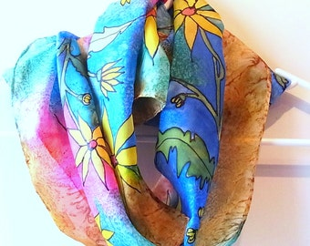 Hand Painted Silk Scarf, Flowers, Scarf, 62 x 11 inches, Made in Australia, Ready to Ship, Gift for her, SallyAnnesSilks  HP13