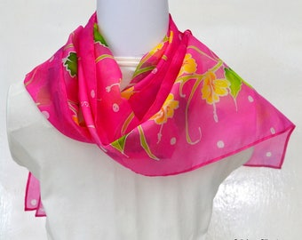 Hand Painted Silk Scarf, Floral Scarf, 62 x 10 inches, Made in Australia, Ready to Ship, Gift for Her, SallyAnnesSilks  HP33