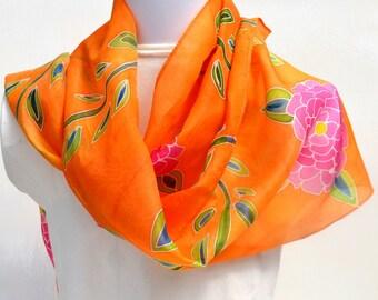 Hand Painted Silk Scarf, Floral Scarf, Tropical Fun Scarf, 64 x 10 inches, Made in Australia SallyAnnesSilks  HP32