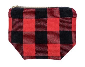 Buffalo Plaid Woven Zipper Pouch, Canvas Zipper Pouch, Canvas Makeup Bag, Mens Toiletry Bag, Travel Organizer, Durable + Easy Design