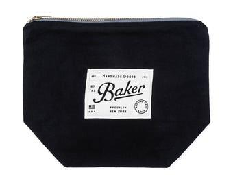 Black Canvas Zipper Pouch, Canvas Makeup Bag, Canvas Travel Organizer, Mens Toiletry Bag, Durable + Easy Design