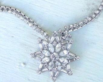 Vintage Necklace Clear Crystal Rhinestone Star Silver tone Jewelry