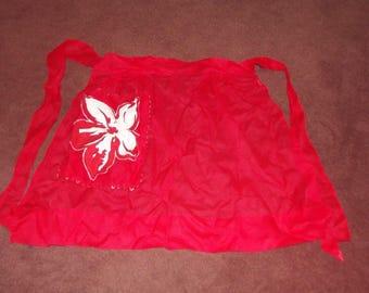Vintage Sheer HALF Apron Red with floral applique on pocket