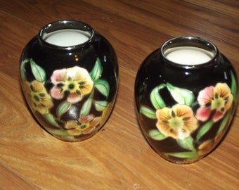 "2 Vintage Small Vases Black with Floral and Gold Trim 4 1/2"" Ucagco"