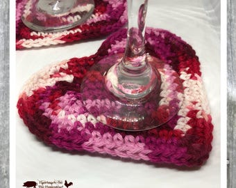 Heart coasters, Valentine's day, red hearts, sweethearts, Valentine's day gift, be mine, couples, crochet coasters, cotton coaster, set of 2