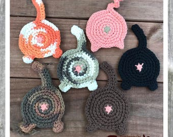 Cat butt coasters, butt coasters, crochet coasters, cotton coaster, gag gift, cat lady, feline, kitten, kitty