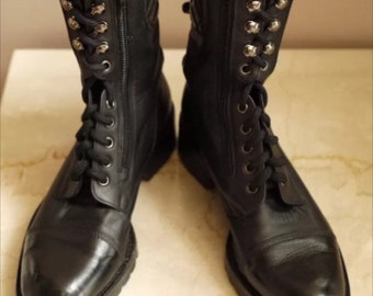 6de5596c29e CHANEL Leather Combat Boots Moto Style 38 Quilted Logo n Tag