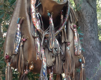 ac1ec8e14baf showdiva designs Dramatic Distressed and Painted Leather Handbag Tote Purse  Dripping in 46 Tassels Fringe Beads