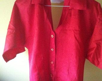 Sale Vintage 80s Red Cut Out Crop Blouse