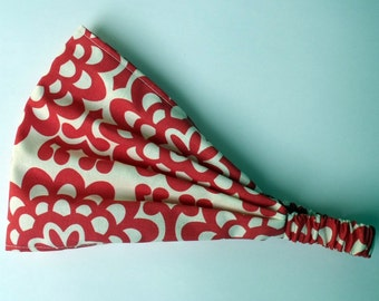Headband - Amy Butler Wall Flower in Cherry fabric