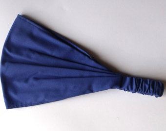 Yoga Headband - Solid Deep Blue Kona Cotton fabric by Robert Kaufman.