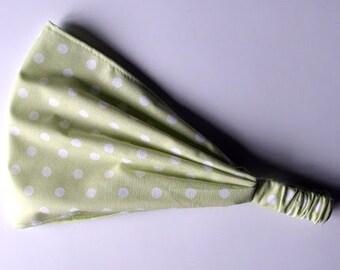 Light Green White Polka Dotted Yoga Headband Tilda fabric