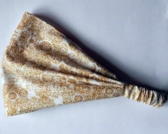Yoga Headband Cotton Bandana - Riley Blake, Paris & Company, Damask in gold fabric
