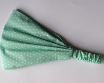 Yoga Headband Cotton Bandana - Polka Dots in Mint fabric