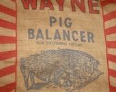 Vintage Wayne Red Blue Burlap Pig Balancer Feed Grain Sack Bag Feedsack Repurposing Allied Mills Chicago