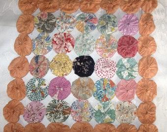 Scrapbooks Pillows Antique Vintage Yoyo Crazy Patchwork Quilt Block Quilt Scraps Yo Yo for Sewing Journals