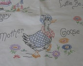 Antique Vintage Handmade Embroidery Quilt Top Baby Nursery Rhymes Mother Goose Little Bo Peep Little Boy Blue