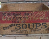 Antique Vintage Joseph Cambells Chicken Soup Shipping Crate Wood Box Store Display Storage Advertising Wooden Lafayette Indiana
