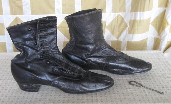 Antique Victorian High Button Ladies Black Shoes &