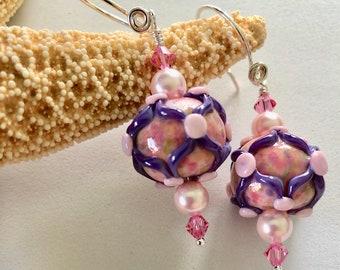 Pink, Purple, Lattice & Dots Lampwork Earrings