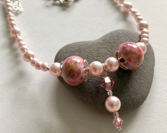 Pretty in Pink Swarovski Pearl and Lampwork Bead Necklace
